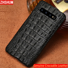 Luxus Echtes Krokodil Leder Fall Für Samsung S10 Plus S10 Lite E Hinweis 10 Pro Fall Handgemachte Haut Zurück Abdeckung für Galaxy Note 9 10 8 S9 S8 Plus + fundas S10e s10Lite S10 + shell couqe