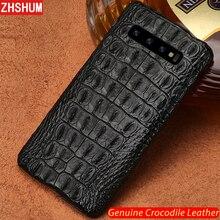 ของแท้หนังจระเข้สำหรับ Samsung S10 Plus S10 Lite E Note 10 Pro Handmade ผิวปกหลังสำหรับ Galaxy Note 9 10 8 S9 S8 Plus + fundas S10e s10Lite S10 + เปลือก couqe