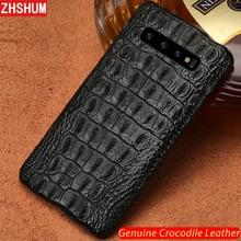 Роскошный чехол из натуральной крокодиловой кожи для Samsung S10 Plus S10 Lite E Note 10 Pro, чехол из кожи ручной работы для Galaxy Note 9 10 8 S9 S8 Plus + fundas S10e s10Lite S10 + чехол couqe