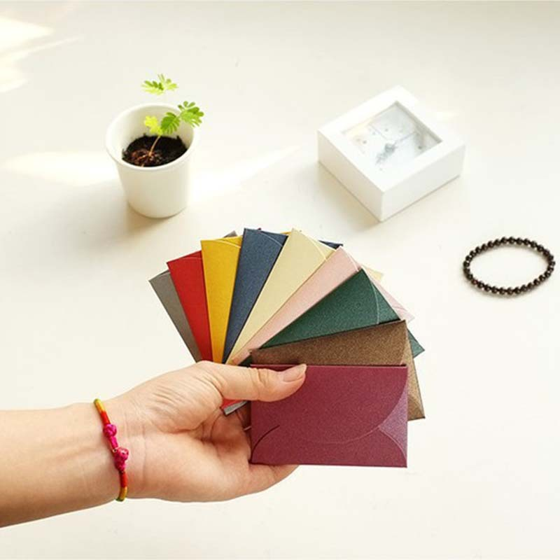 40pcs/set Vintage Love Small Colored Pearl  Blank Mini Paper Envelopes Wedding Invitation Envelope /gilt Envelope/13 Color
