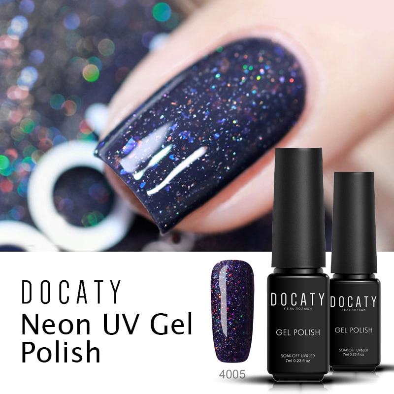 Docaty UV Gel Polish Neon Long Lasting for Nails Soak Off Nail Gel Polish Semi-Permanent Gellak Uv Nail Art Hybrid Gel Varnish