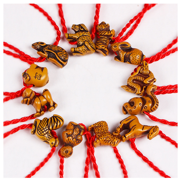 Imixbox Red Rope Animal Bracelet Twelve Chinese Zodiac Signs Fish Dog Horse Sheep Ox Snake Mouse Tiger Monkey Rabbit In Cuff Bracelets From