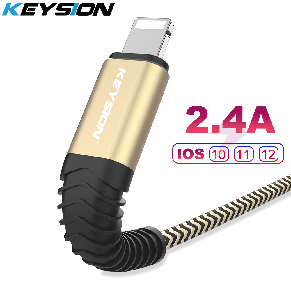 KEYSION USB Cable for iPhone Xs max Xr X 8 7 6 plus 6s 5 s plus iPad 2.4A Fast Charging