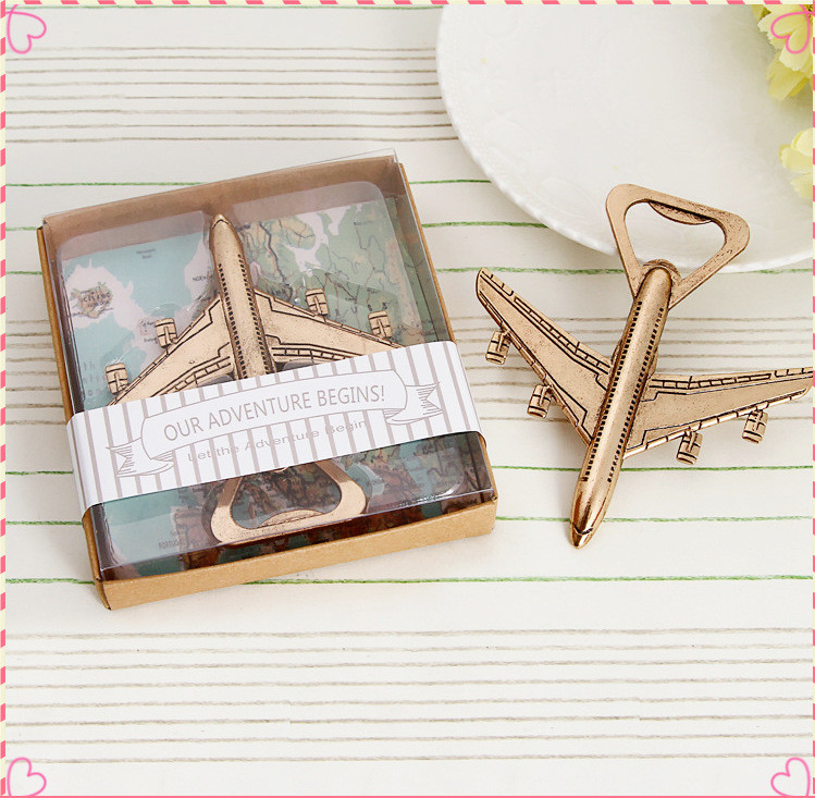 wedding favor golden retro Classic plane aeroplane aircraft bottle opener party gift souvenir 20pcs lot Tableware