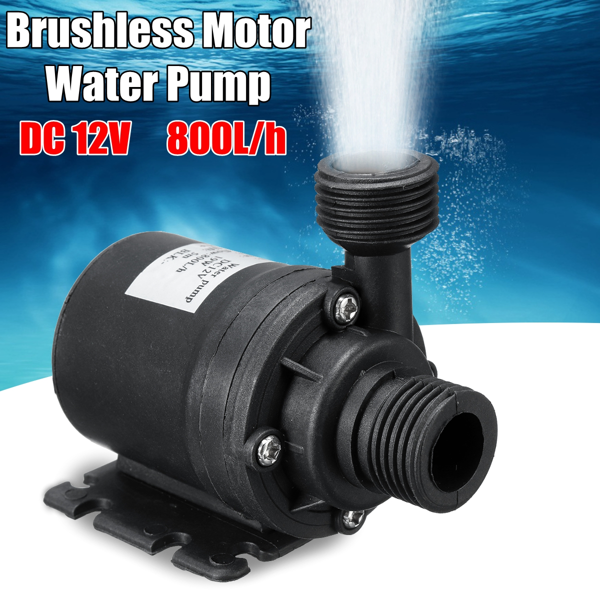 DC 12V 5M 800L/H Portable Mini Brushless Motor Ultra-quiet Submersible Water Pump For Cooling System Fountains Heater(China)
