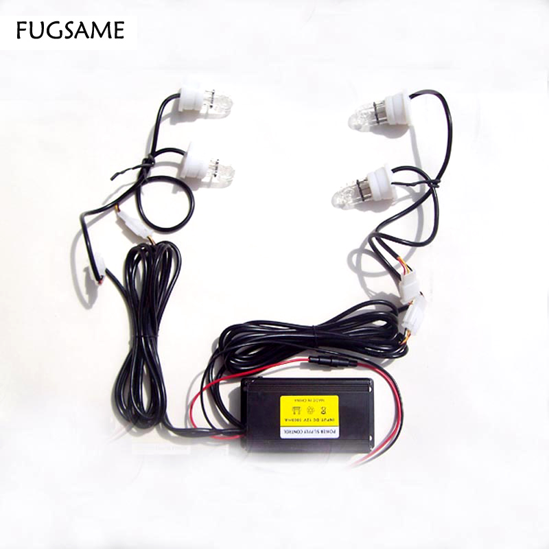 FUGSAME FREE SHIPPING Factory Direct NEW 60W 4 STROBE red blue LIGHT KIT POLICE FIRE SYSTEM