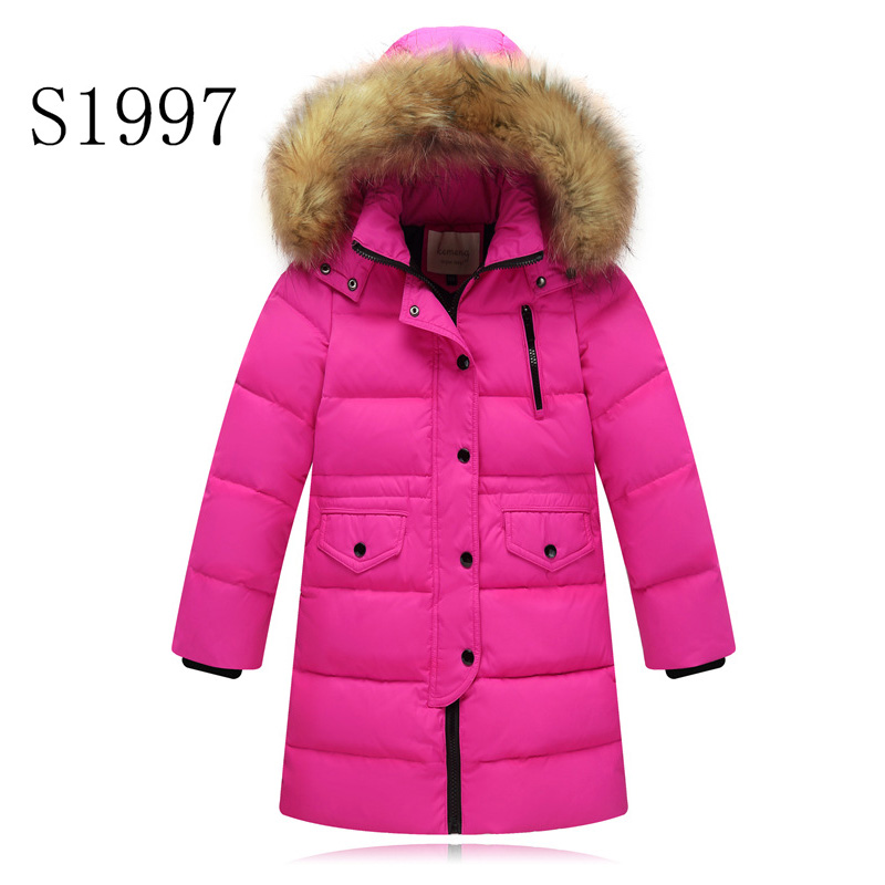 Hot Sale White Duck Down Children's Winter Jackets Girl Brand  Padded Patchwork Solid Fur Hooded Coat Boy Teenagers Thickening