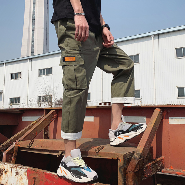 Mens Pockets Straight Harem Joggers Pants Man Hiphop Fashion Casual Sweatpants