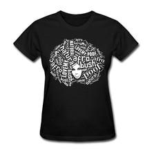 Only4U Бесплатная доставка футболка женская дизайн экипажа шеи с коротким рукавом натуральных волос Love My афро с коротким рукавом Женская футболка