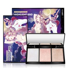3-Color High Light Shadow Disk Face Powder Pressed Powder Repair Palette Natural Makeup