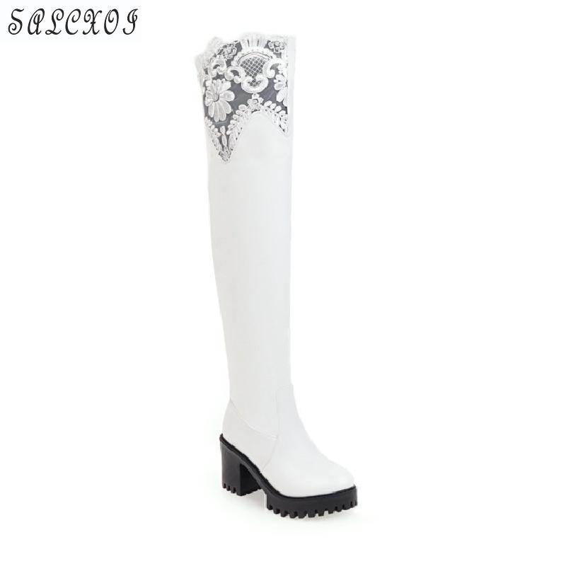 Salcxoi winter Boots Women fashion Over The Knee Boots black white lace spring and autumn size 4 Shoes Woman free shipping &3-5 2016 spring and summer free shipping red new fashion design shoes african women print rt 3