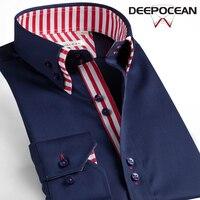 DEEPOCEAN Fashion Men Shirt Slim Fit Cotton Shirt Men Clothes Long Smart Casual Business Formal Shirts Camisa De Hombre