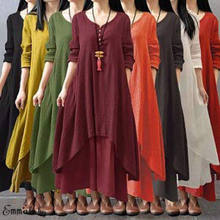 d41064d382f Fashion Women Peasant Ethnic Boho Autumn Cotton Linen Long Sleeve Maxi Dress  Gypsy Shirt Dress Kaftan