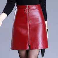 Dwayne Sexy High Waist PU Leather Skirt Autumn Winter 2017 Elegant Zipper Short Women Skirt Casual Red black Slim Mini Skirt
