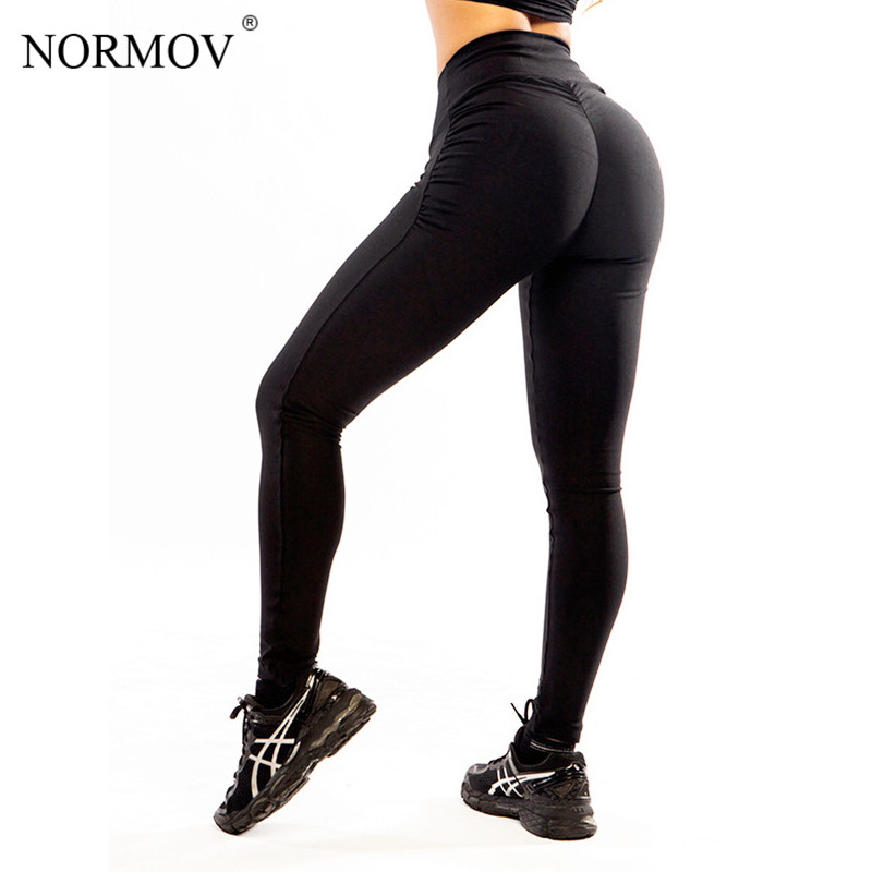 NORMOV S-XL Donne Push Up Leggings Poliestere Fitness Leggings Large Size Nero Slim Jeggings Leggings A Vita Alta Pantaloni Delle Donne