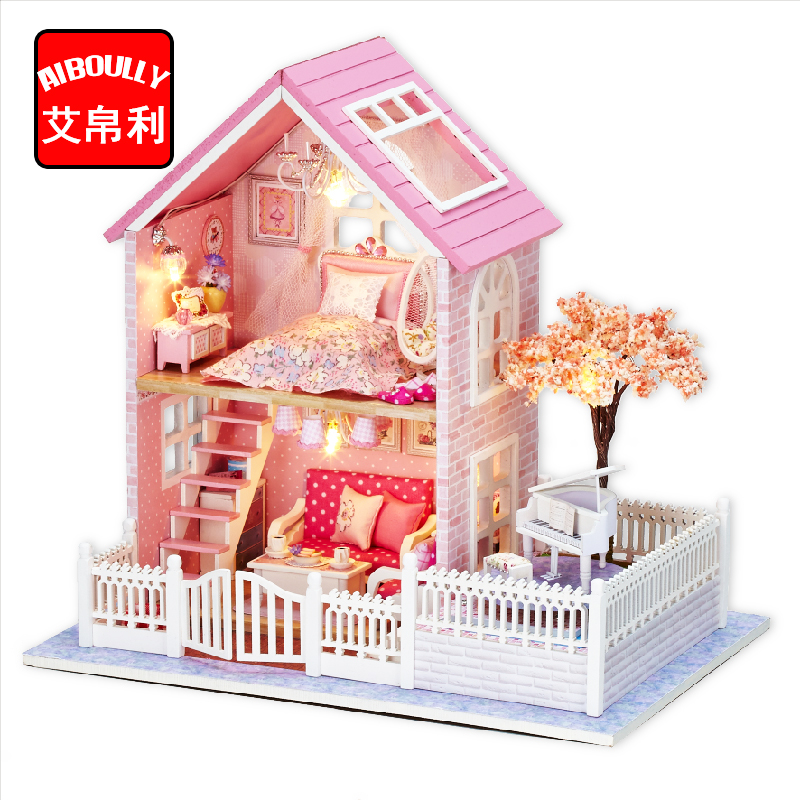 AIBOULLY DIY Doll House Miniature DIY Dollhouse With Furnitures Wooden House Cherry Blossom Toys For Children Birthday Gift H028 doll house miniature diy dollhouse with furnitures wooden house toys for children birthday christmas gift your name 13842