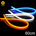 2 Pçs/lote 60 cm 12 W Branco Azul Amarelo Flexível Farol Diurno Switchback Faixa Angel Eye DRL Luz Decorativa Transformar a Luz do sinal