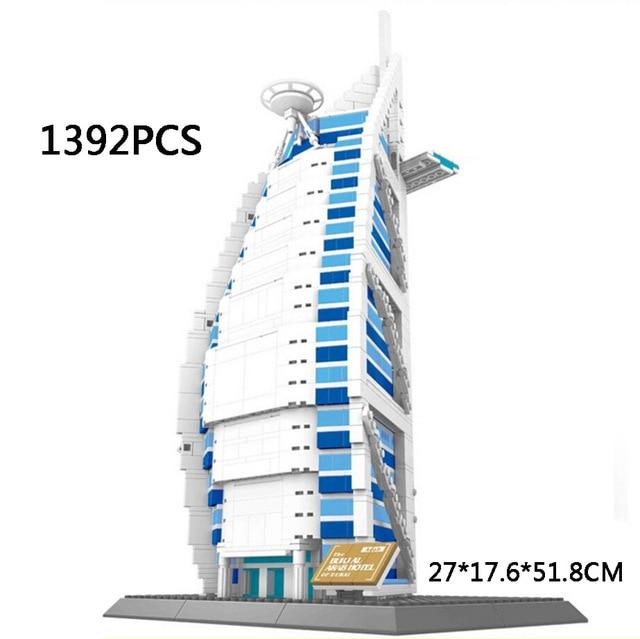2017 World Famous Architecture Burj Al Arab Dubai The United Arab Emirates Building Block Model Standard Brick Size City Toys new mini diamond building block world famous places architecture 3d russia saint basil s cathedral model nanoblock for kid gift