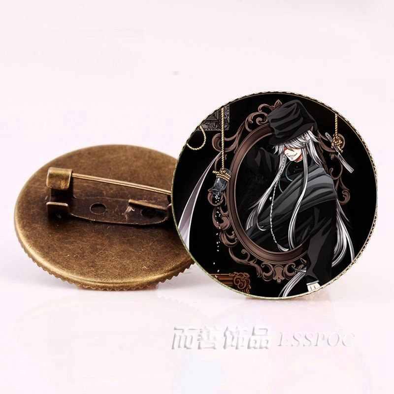 Anime Black Butler Broches de Bronze Badge Kuroshitsuji Ciel Phantomhive Sebastian Grell Vermelho Madame Cosplay Presente