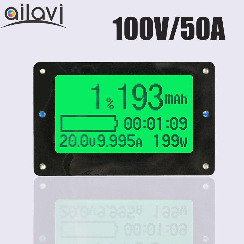 TF02 100 V 50A testeur de capacité de batterie au Lithium au plomb-acide affichage de courant de tension compteur coulomètre Coulomb