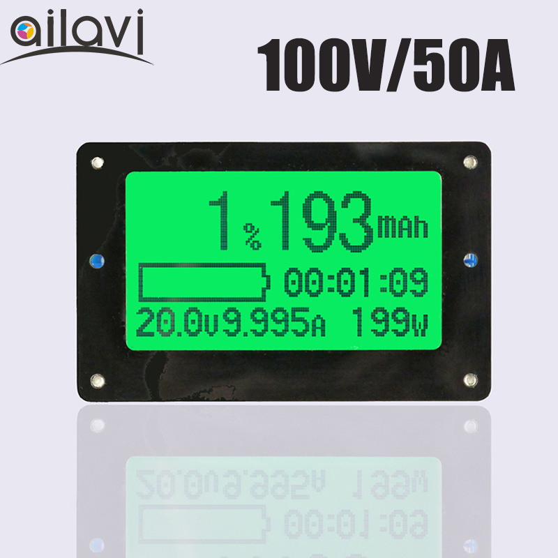 TF02 100V 50A Lead-acid Lithium Battery Capacity Tester Voltage Current Display Coulometer Coulomb Counter battery capacity tester with lcd indicator for 12v 24v 30v lead acid lithium lipo