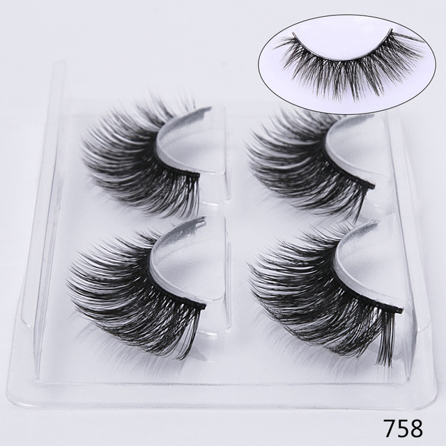 Sexysheep 2 Pairs Natural False Eyelashes Fake Lashes Makeup Kit 3d