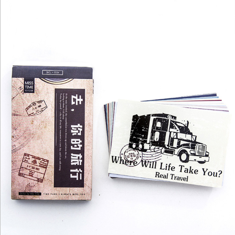 30 pcs pack Creative Go on your trip Card Postcard Birthday Letter Envelope Gift Card Set Message Card in Paper Envelopes from Office School Supplies