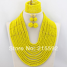 Beautiful 12 Rows Yellow Crystal Beads Jewelry Set Fashion African Wedding Jewelry Sets African Costume Jewelry Set AJS131