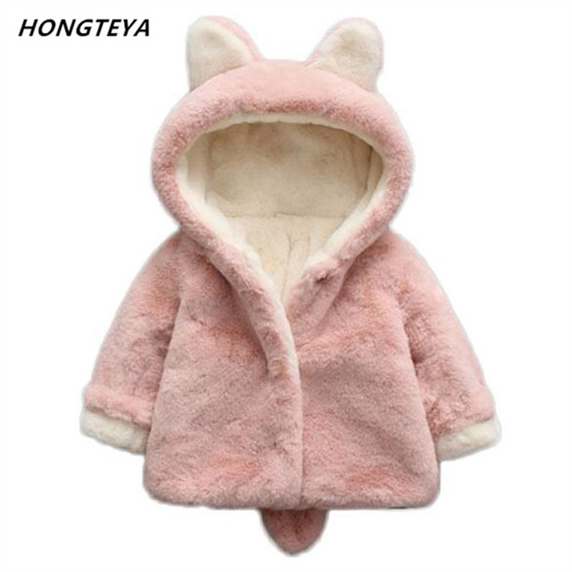 Baby Girls Winter Coats Princess newborn Fashion Thick Fake Fur Warm Baby Jacket Solid Casual Hooded rabbit Clothes Outwears fur clothing