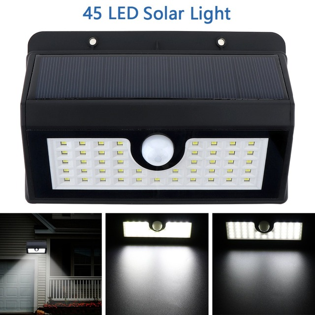 Aliexpress buy outdoor waterproof 45 led solar power pir outdoor waterproof 45 led solar power pir motion sensor wall light with 3 modes light for aloadofball Image collections