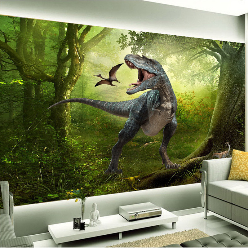 Living room backdrop TV background wallpaper 3D stereoscopic dinosaur fantasy mural murals sofa backdrop wallpaper for kids room large yellow marble texture design wallpaper mural painting living room bedroom wallpaper tv backdrop stereoscopic wallpaper