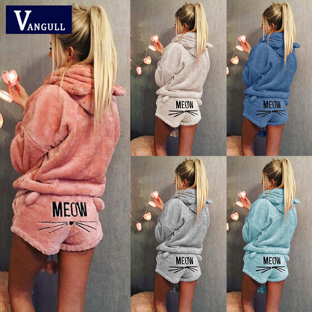 Women Two Piece Set 2018 New Autumn Winter Pajamas Warm Coral Velvet Suit Sleepwear Cute Cat Pattern Hoodies Shorts Out Fit