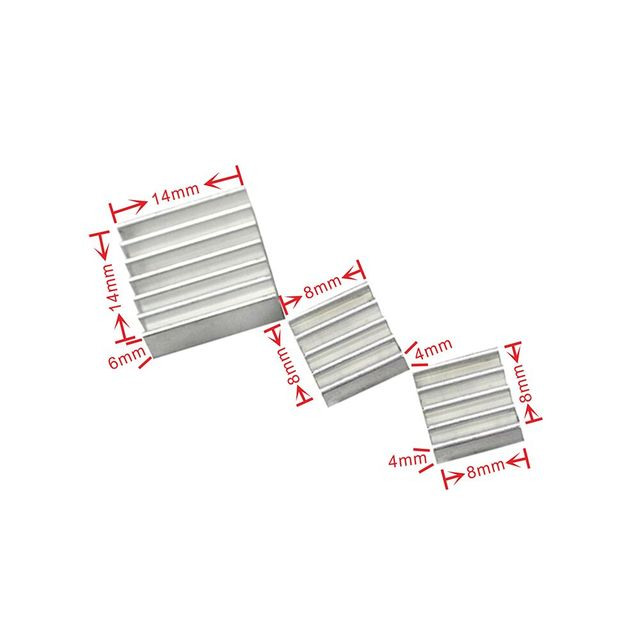 1Set/lot Adhesive Raspberry Pi 3 Heatsink Cooler Pure Aluminum Heat Sink Set Kit Radiator for Cooling Raspberry Pi 2 B