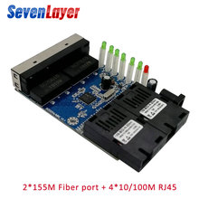 10/100M Ethernet-коммутатор волоконно-оптический медиа конвертер одиночный режим 4 RJ45 2 SC волокно Порты и разъёмы PCBA