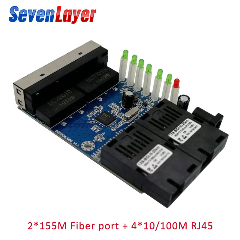 10/100M Ethernet Switch  Fiber Optical Media Converter Single Mode 4 RJ45 And 2 SC Fiber Port PCBA