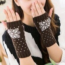 Winter Warm Snowflake Half Finger Mittens Fingerless Glove for Women Girls Keep Warm Knitted Wrist Xmas Gifts
