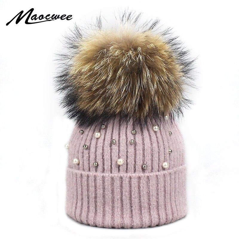 Neue Wolle Mützen Frauen Reale Natürliche Pelz Pom Poms Mode Perle Gestrickte Hut Mädchen Weibliche Beanie Cap Pompom Winter Hüte für Frauen