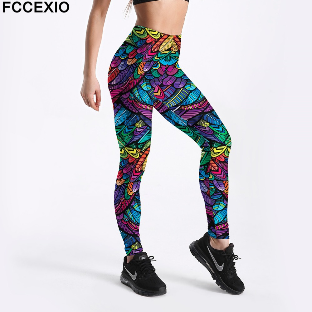 FCCEXIO Women Workout Leggings High Waist Fitness Legging Colored Feathers Print Leggins Female Leg Pants Large Size Leggings