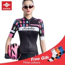 Santic 2019 Women Cycling Short Sleeve Jersey Pro Antislip Cuff MTB Road Bike Shirt Ladies Maillot Ciclismo Summer Black White