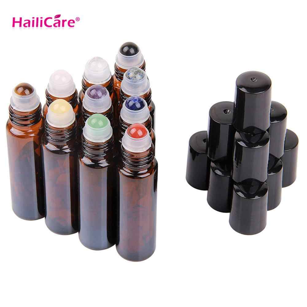 10pcs 10ml Amber Glass Gemstone Roller Bottle for Essential Oil Amber Brown Roll On Bottles Aromatherapy Crystall Perfume Tube