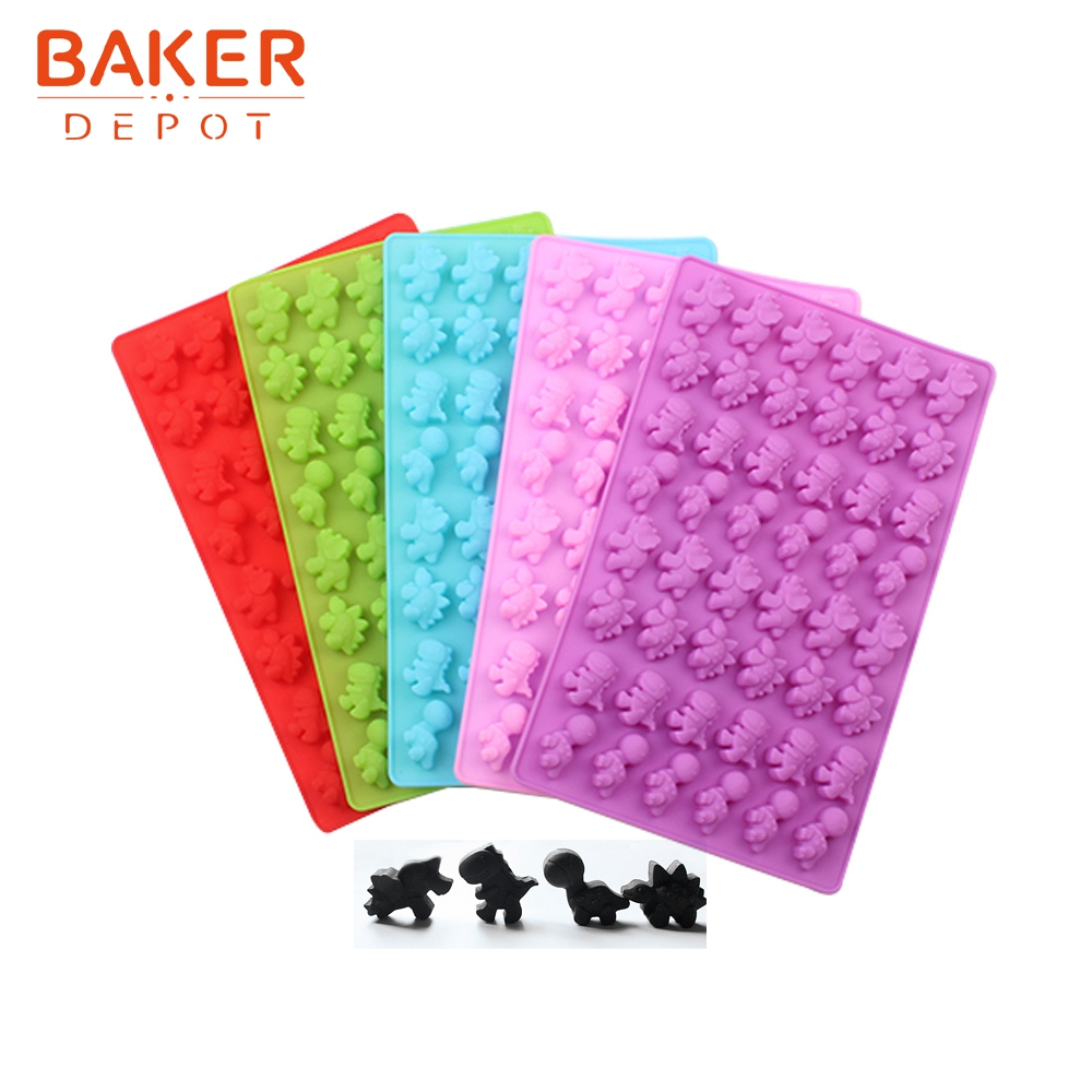 <font><b>BAKER</b></font> <font><b>DEPOT</b></font> Candy Gummy dinosaur Mold Silicone mold for candy Chocolate Ice cube mini biscuit Cake Decoration Tool with Dropper image