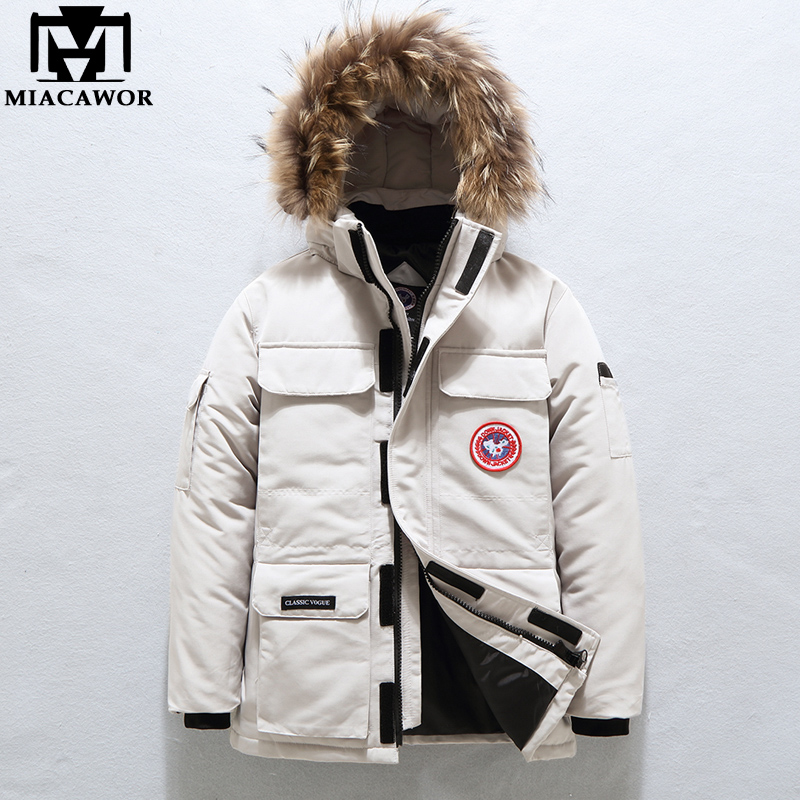 MIACAWOR -40° Down Jacket Men Thick Warm 90% White Duck Down Coats Men Hooded Fur Collar Snow Parka Winter Jackets J636