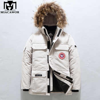 MIACAWOR -40° Down Jacket Men Thick Warm 90% White Duck Down Coats Men Hooded Fur Collar Snow Parka Winter Jackets J636 - DISCOUNT ITEM  45% OFF All Category
