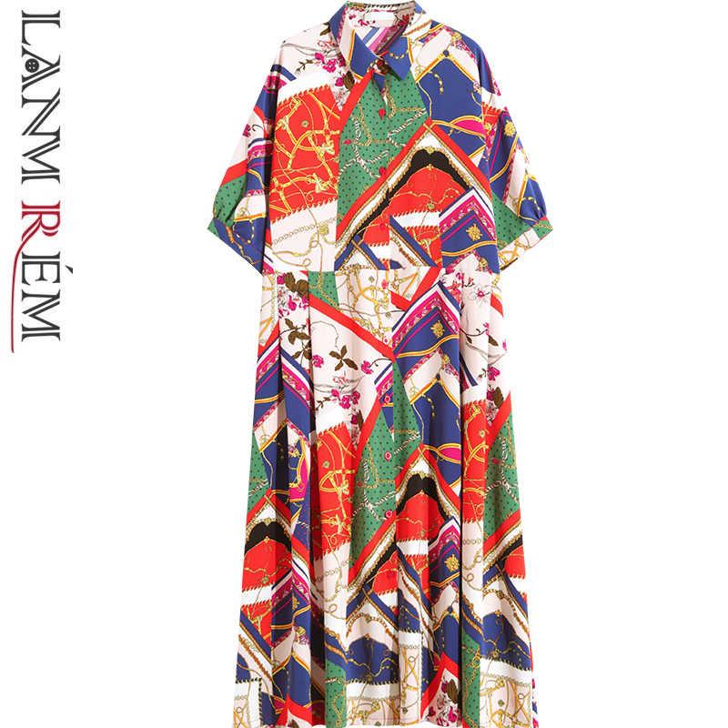 LANMREM контрастная цветная печать платье для Для женщин летние шорты с длинными рукавами и отложным воротником 2019 новый шаблон Свободная шифоновая одежда YH054
