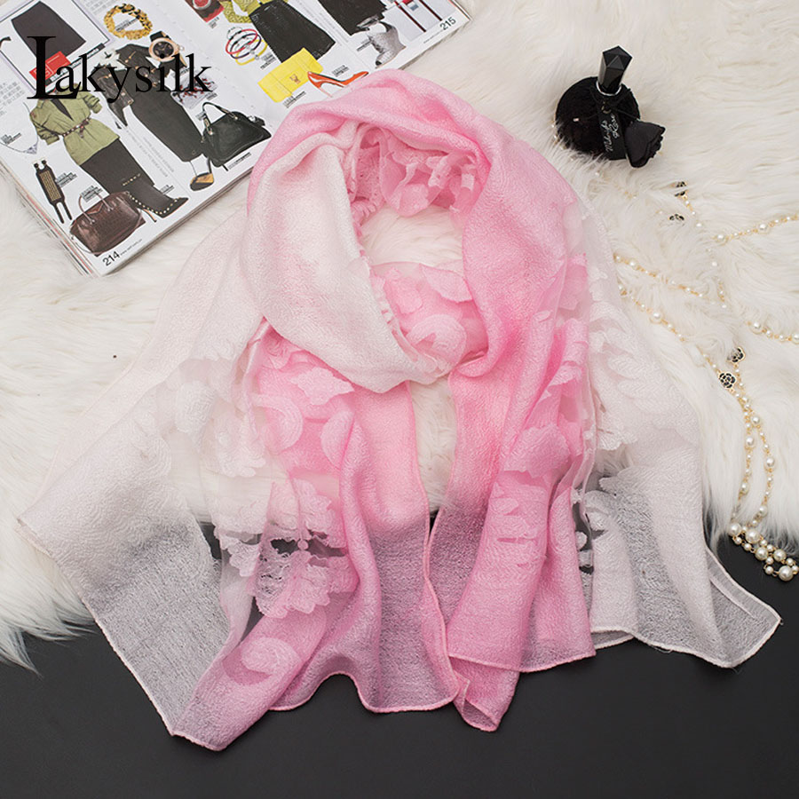 [Lakysilk]Women Floral Lace Organza Scarf Cotton Linen Head Wraps Foulard Shawl Women Accessories High quality Pink Scarves