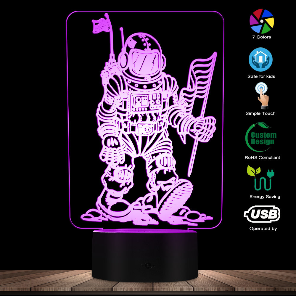 Contemporary Astronaut In Space 3D Illusion Night Lamp Spacemen LED Desk Light Man On The Moon Decor Space Enthusiast Gift Idea