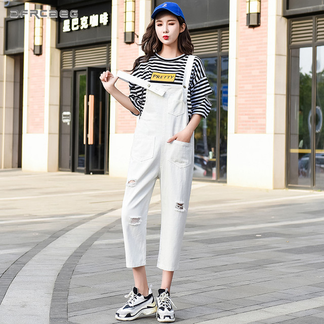 1af287849f8 Candy Color Loose Hole Denim Jumpsuits Women 2018 Fall Casual Strapless Suspenders  Romper Ladies Jeans Pants Overalls Female