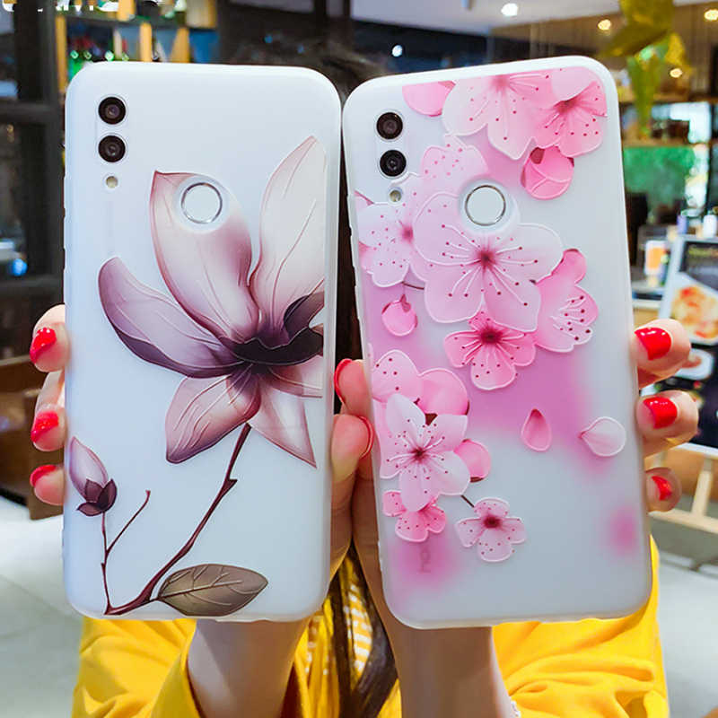 3D Relief Bunga untuk HUAWEI Mate 20 10Pro untuk Huawei P Smart 2019 P20 P30 Pro Y7 Y9 2019 Frosted Silicone Phone Cover