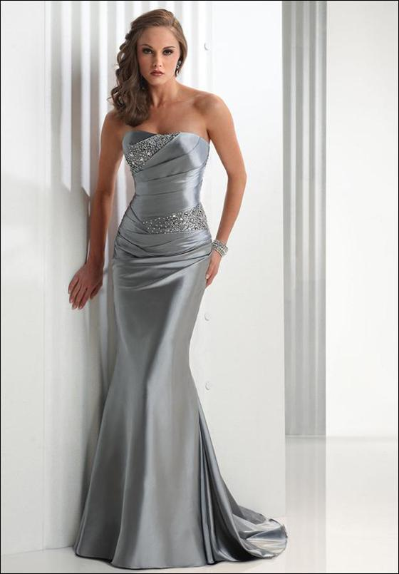 2017 Strapless Beaded Maid Of Honor Silver Mermaid Plus Size Long