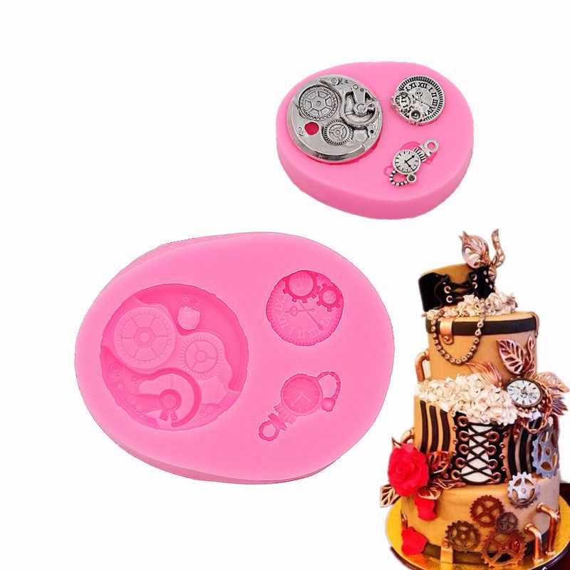 4 นาฬิกาเปิดเค้กน้ำตาลแม่พิมพ์ซิลิโคนช็อกโกแลตหัตถกรรม gadgets ขนมตกแต่งเครื่องมือ DIY Pastry เบเกอรี่ใหม่